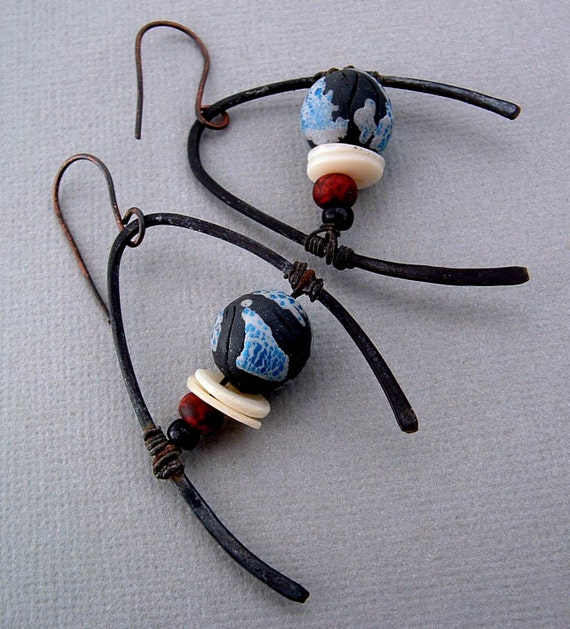 Temporal Asymmetry rustic tribal asymetrical sci-fi earrings