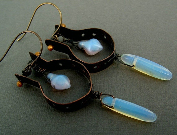 Alien Tongue  tribal sci fi rustic metal worked copper opalite edgy assemblage dangle earrings