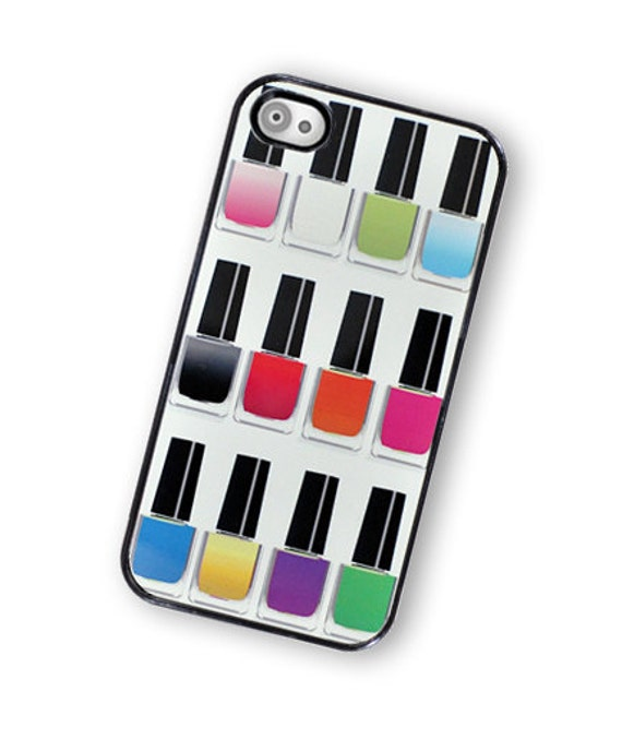 iPhone 4Case Rainbow Nail Polish Hard Phone Case / Hard Case For iPhone 4 and iPhone 4S