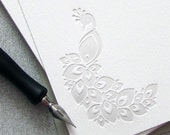 Peacock Note Card Set Letterpress - Pearl, Light Grey, Gray - 10 pack (NPE01) - sweetharvey