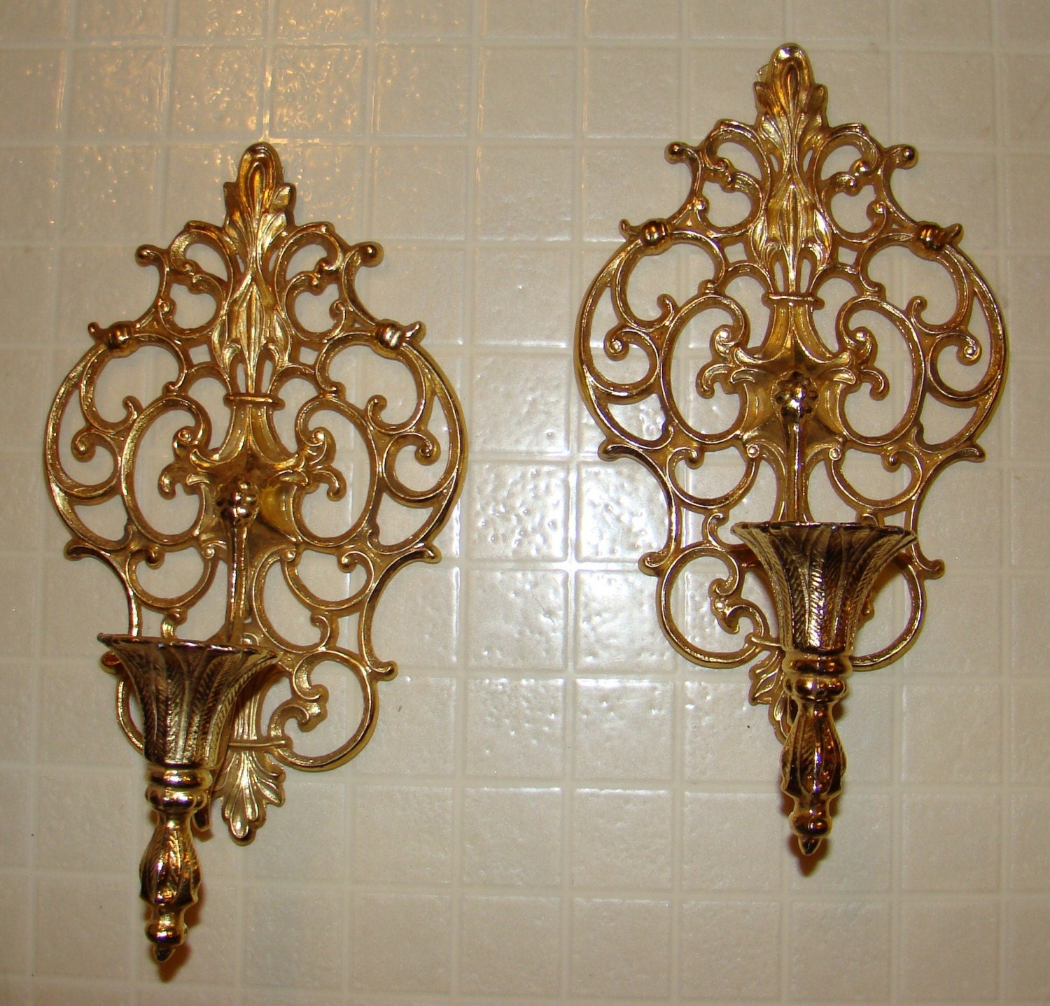 Vintage Pair Ornate Gold Tone Metal Wall by HomeBodySales on Etsy