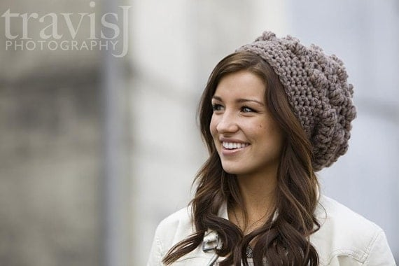 Crochet Chunky Slouchy hat in Taupe - Charity