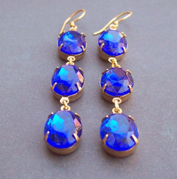 image godiva earrings two cheeky monkeys sapphire blue gold vermeil dangly vintage estate style hollywood glamour party wedding bridal