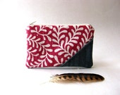 The Picnic Coin Purse in pink - dark pink and white cotton/linen  fabric and jean/ jean - aylla