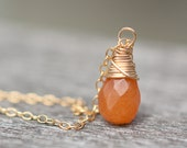Orange Red Pumpkin Aventurine Teardrop Pendant Necklace 14K Gold briolette Natural Organic Simple Modern Minimalist Design - daimblond