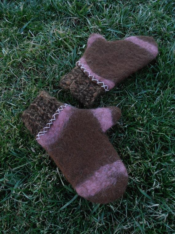 Handfelted Alpaca Mittens With Crocheted Cuff