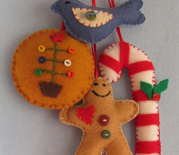 Праздничные рождественские украшения войлока х 4
