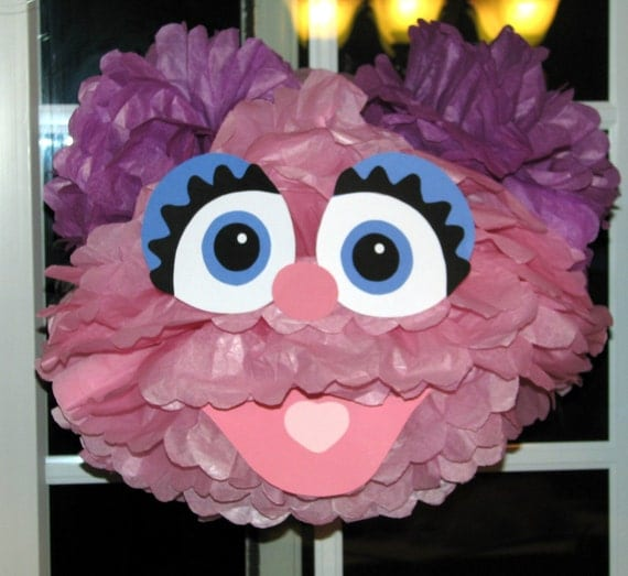 "Pink Monster tissue paper pompom kit, inspired by ""Abby Cadabby"" from Sesame Street"