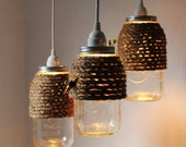 The Hive - Set of 3 - Half Gallon Quart Sized Mason Jar Pendant Lights - UpCycled Handcrafted BootsNGus Lighting Fixture Wrapped in Rope - BootsNGus
