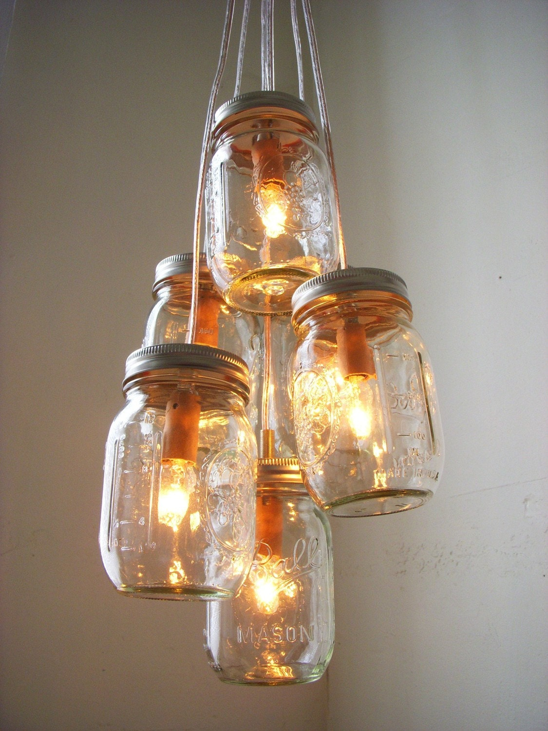 Mason jar lights christmas lights for Vintage lampen