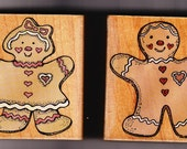 Sweet Gingerbread Boy & Girl - WM Rubber Stamps - ATCs - Christmas Cards - Recipes - Cookbooks - Gifts - Scrapbooks - Crafts - FREE Shipping