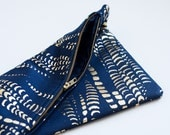 Dark Blue Navy and Metallic Gold Print Print Clutch with Dark Sky Blue Lining - PeterValentina