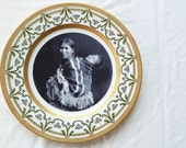 Upcycled Vintage Gold Art Deco Limoge Plate with Antique Navajo Mother and Daughter Photo - MilestoneDecalArt
