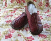 "Vintage 1940's ""A Christmas Story"" Red Leather and Elastic Slippers - TheButlersCottage"