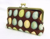 Robins Egg Blue,  Chocolate brown, Beige and Green Clutch - LaurenceCollection
