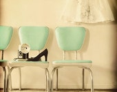 Domestic 5x5 Fine Art Print--Mint Green Peachy Vintage Chairs Mad Men Retro Black Pumps Dress