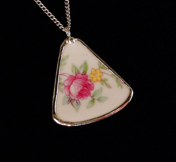 Broken China Jewelry Shard Pendant recycled broken plate necklace pink rose