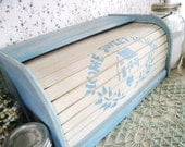 Shabby Chic Powder Blue and Ivory Bread Box Kitchen Decor - SnapdragonScullery