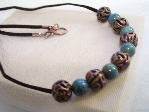 Intrinsic blue and vintage brown beaded necklace