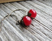 Czech Glass Button Earrings Cherry Red Button Beads Antique Brass Hooks