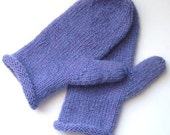 Hand knitted womens mittens, wool, purple, ladies, periwinkle, gift for mom - LambsEars
