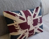 handprinted union jack  flag cushion with royal silhouette inlay - helkatdesign