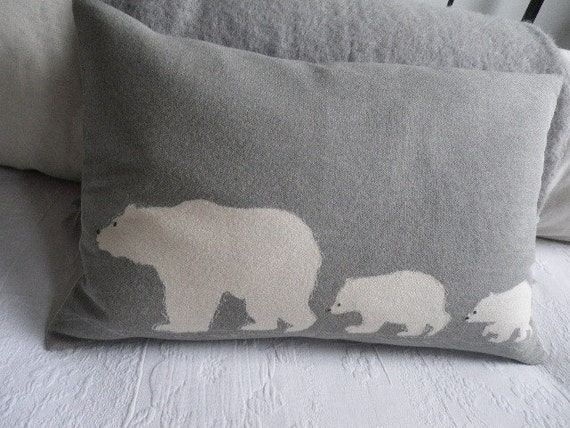 Hand printed polar bear family cushion cover