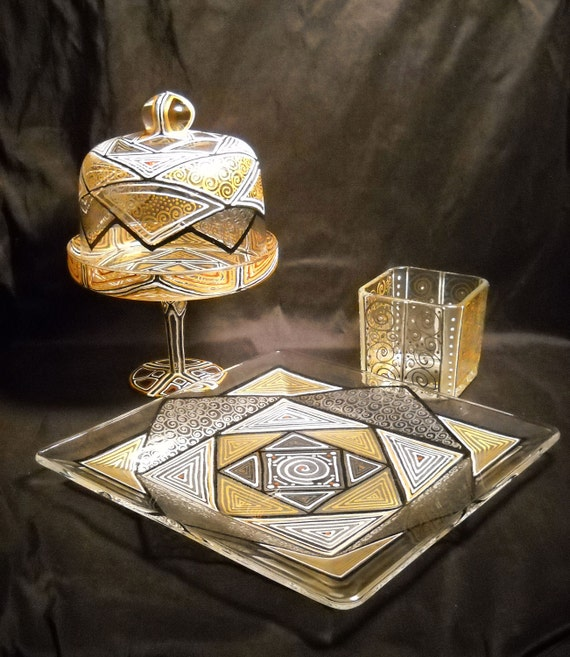 Geometric Painted Glassware, Hand Painted Domed Dessert Stand, Art on Glass