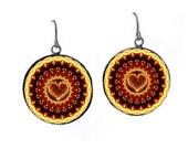 Flaming Heart Kaleidoscope Earrings - Mandala Jewelry -EtsyBRC Burning Man -Burner Raver Hippie - FireGrog