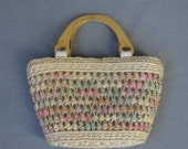 Vintage Tote Bag Pastel Raffia Purse Carry All Wood Handles - MagsRagsVintage