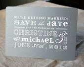 Vintage Gray and White Save the Date Postcard - designbybittersweet