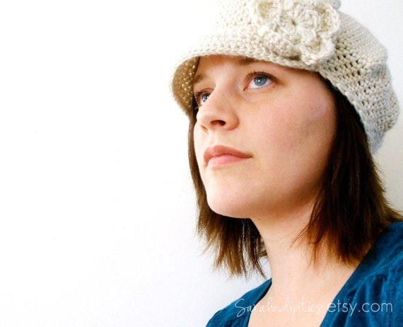 CROCHET PATTERN - Crochet Newsboy Hat with Flower - Sell What You Make