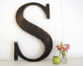 """12"""" wooden letter S - wall art signage rustic americana primitive Black - Letter S - OldNewAgain"""
