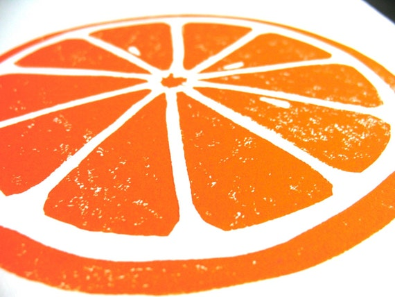 Citrus Orange letterpress linocut print by thebigharumph on Etsy
