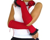Crimson red arm warmers,  navy blue lace frill, french style cuffs OOAK Unique - mammamiaeme