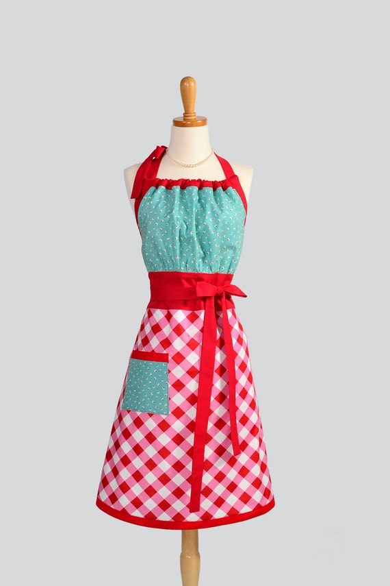 Cute Kitsch Retro Apron / Handmade Full Retro Womens Apron in Red Gingham and Turquoise Bodice