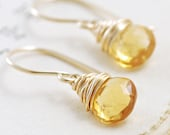 Citrine Earrings Wrapped in 14k Gold Fill, Yellow Gemstone Earrings, Handmade, aubepine - aubepine