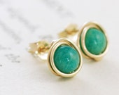 Emerald Green Post Earrings,14k Gold Fill Gemstone Earrings, Wire Wrapped Handmade Jewelry, aubepine - aubepine