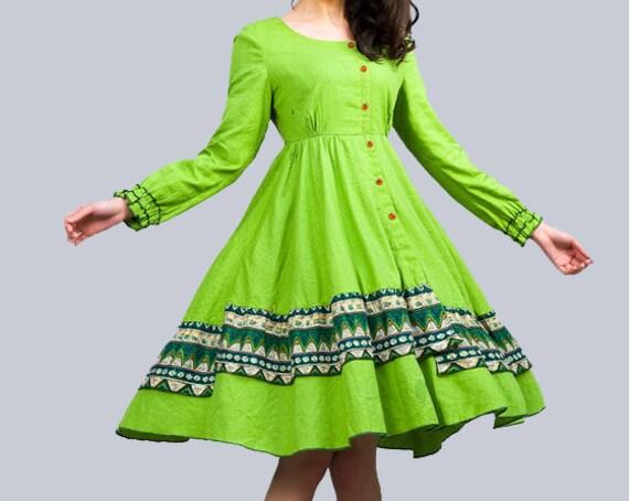 دافنه - لباس کتانی سبز نور (E53471750)
