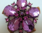 Vintage Rhinestone Brooch, Exquisite Deep Pink Floral Design, cr. 1950, Estate Collection    I take CREDIT CARDS