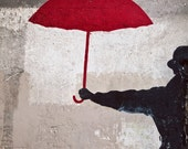 Paris Photo, Street Art Graffiti, Paris Photography, Urban Fine Art Print - The Red Umbrella (8x10)