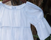Girls Boutique Peasant Top White Cotton Lawn Tunic Top  6mos to 12            3/4 Sleeve - HotLavaClothing