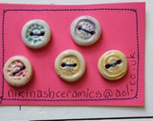 five ceramic buttons. - NikiNashCeramics