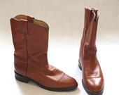 Boots Brown Justin Boots Mens 8 Womens 9 or 9.5  Mid Calf Leather Like New Condition - persnicketyvintage