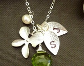 Pick Your Stone and Initial - Peridot, Pearl, Orchid Flower, 2 Custom Initial Leaf Necklace in Sterling Silver Chain (Gold is available) - JCGemsJewelry