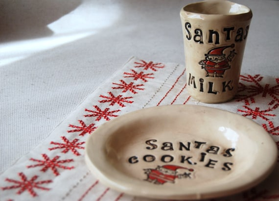 Santa Cookie Plate and Cup Set
