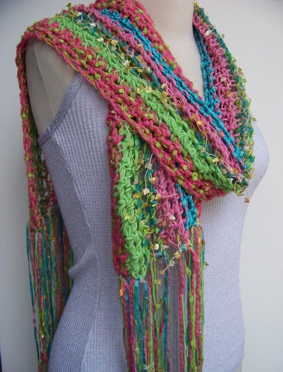 Gorgeous Lightweight Ria Ribbon Scarf  Pink Turquoise and Lime Green Scarves With Ribbon Weaved In