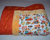 Construction Equipment Yellow, Rust Orange, Cotton and Dimpled Minky Baby Crib Tied Quilt