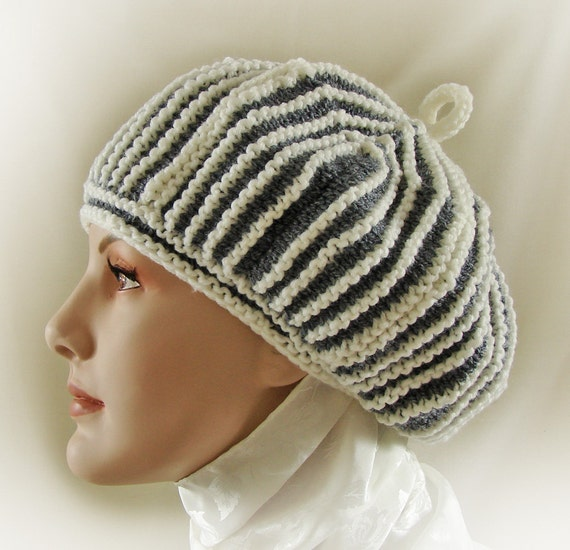 Gray and White Striped Module Beret / Hand Knit