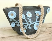 Sky Blue Flower Bag - Felt and Crochet - StarBags